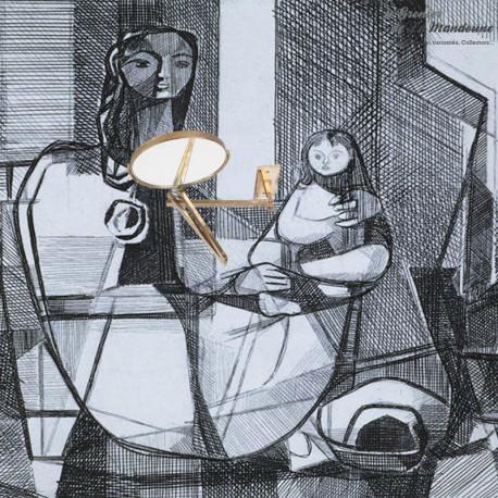 Le Grenier de la Mandoune. Miroir mural Pivotant Extensible en laiton 1960, double face