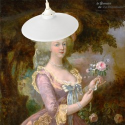 Le Grenier de la Mandoune. Lustre, abat-jour opaline blanche vintage 24,4 cm. Prêt à installer
