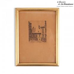Ancienne gravure signée, cadre doré avec vitre