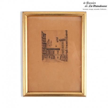 Legrenier de la mandoune. Ancienne gravure signé, cadre doré avec vitre