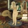Chaise / Fauteuil Moumoute vintage Pelfran, couleur crème à reflet