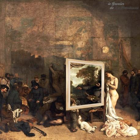Ancien Cadre bois doré et intérieur tissu 72 x 53 cm. French Vintage