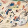 Paire de Grands Plats ronds, Collection REVERBERE de K.G Luneville, tulipes  - 1922