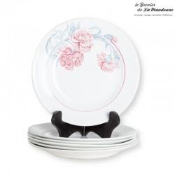 Lot de 6 assiettes plates St Amand, modèle ANTIBES, décor Oeillets rouge. Made in France
