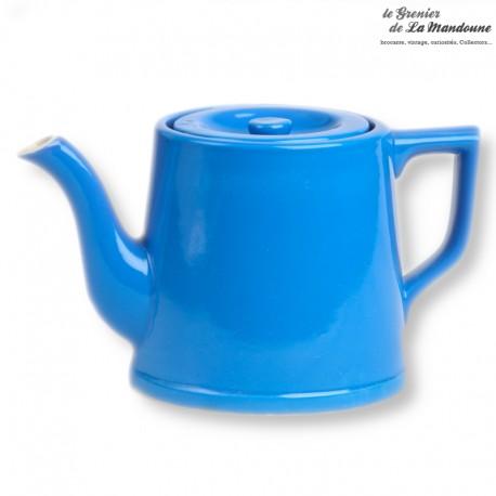 Théière en céramique bleu de cobalt vintage, french antique