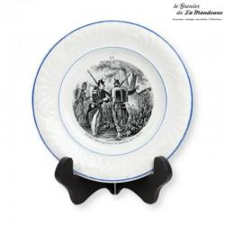 Assiette parlante Creil et Montereau, n°9 thème militaire , L. M & Cie