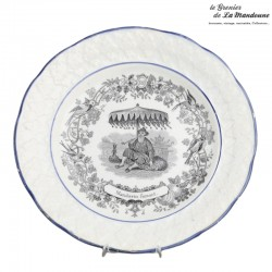 1 assiette HB & Cie Choisy le Roi n° 12, Mandarin fumant. French Antique