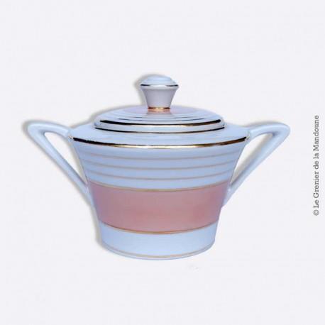 Sucrier Porcelaine de Limoges France, couleur Saumon