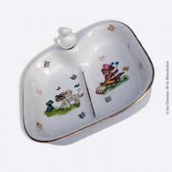Assiette carrée à bouillie chauffante, repas bébé. Porcelaine France Paris 2