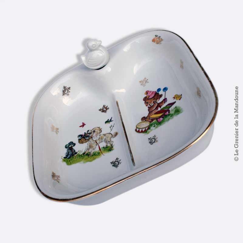 Assiette chauffante à bouillie pour repas bébé. Porcelaine France ...