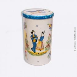 Boîte métal cylindrique faïenceries de Quimper HB HENRIOT 1950/60, Couple de danseurs