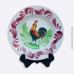 Assiette creuse en céramique de CHOISY le ROI décor central au COQ 1878