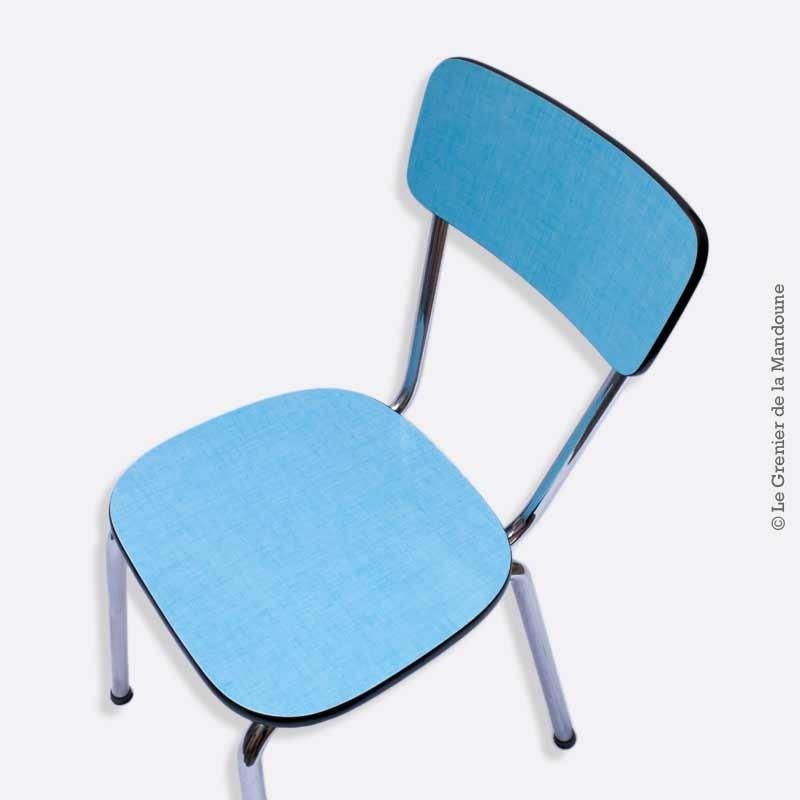 chaise formica bleu pieds chrome vintage loft pi tements. Black Bedroom Furniture Sets. Home Design Ideas