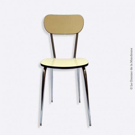 Chaise formica jaune paille pieds chrome vintage Loft, pieds effilés
