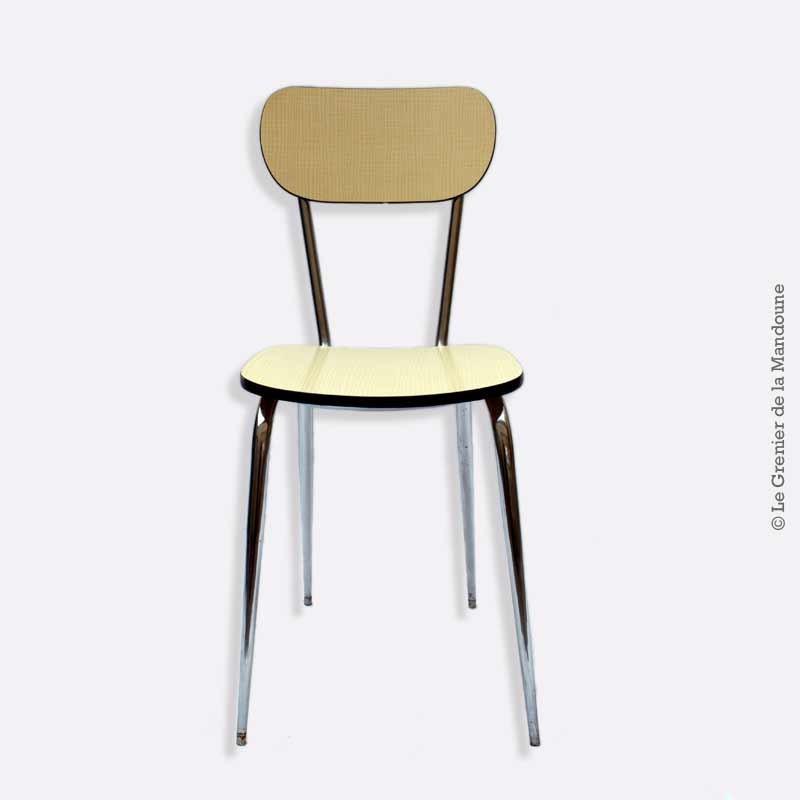 Chaise formica jaune paille pieds chrome vintage loft for Chaise formica