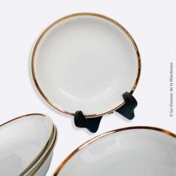 Anciens plats creux & assiettes en PORCELAINE BLANCHE ET OR Vintage, French antique