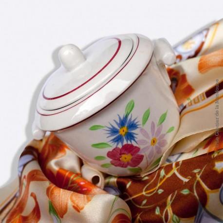 Pot avec couvercle, sucrier, CERANORD St AMAND, décor main
