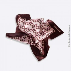 Foulard RODIER Polyester Satin Marron Rose