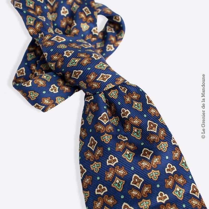 Cravate En Soie Pierre Cardin Vintage Motif Fleur De Lys Stylise