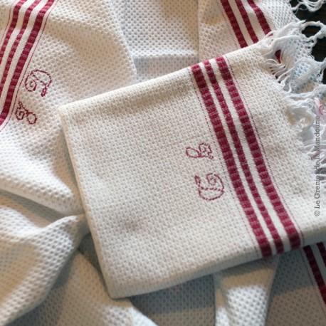 Lot de 2 anciennes serviettes coton nid d'abeille