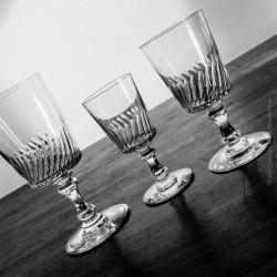12 verres en crystal, eau, vin et porto, 19ème siècle, taillés main