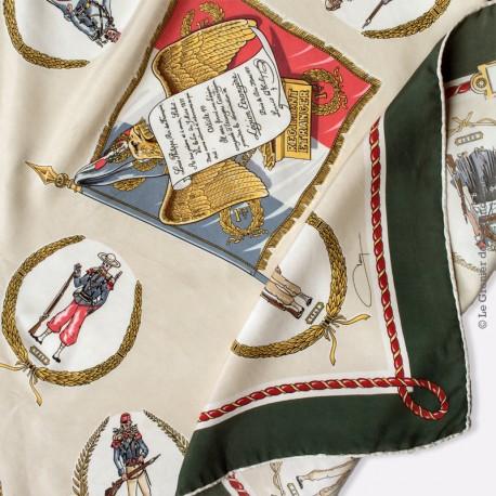 Foulard de collection LR. Paris Légion étrangère signé - 1er régiment étranger 100% soie. Vintage Scarf TBEG Rare