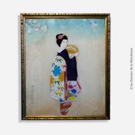 Peinture sur soie (Geisha japonaise) asiatique, Jeune femme en kimono & éventail, antique rare signée et encadrée, cadre ancien