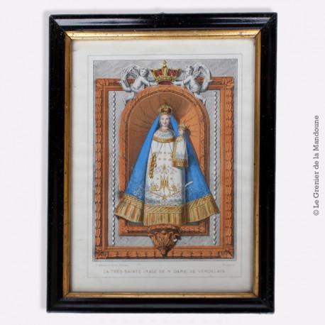 Cadre bois 19eme laqué noir doré 28 x 21 cm, représentation N. Dame de Verdelais