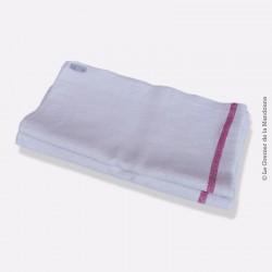 Nappe ancienne coton / lin épais à liteaux rouge,  172 cm x 95 cm