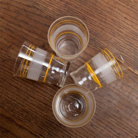 4 verres granités  vintage année 60 liseré jaunes