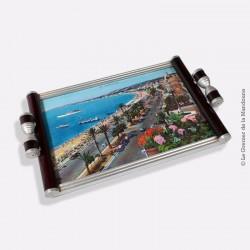 Plateau 1940 /1950, grande vue de Nice en couleur «Promenade des anglais»