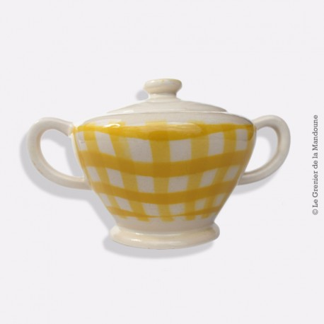 Sucrier Salins France, jaune et blanche