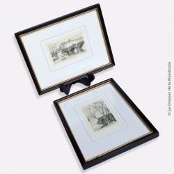2 Gravures à l'eau-forte de Charles PINET (1867 / 1932), encadrées