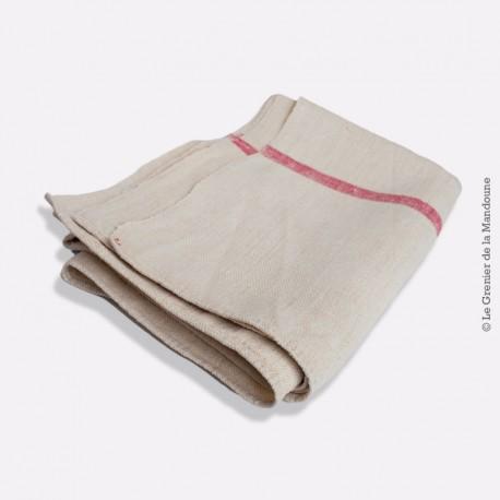 Nappe ancienne écru coton / lin, nappe de vigneron,  épais à liteaux rouge, 147 cm x 96 cm