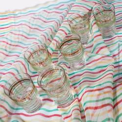 Lot de 6 petits verres granités vert & or vintage année 60
