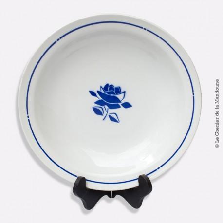 Plat rond creux BADONVILLER Faïencerie FB 92, décor pochoir fleur bleue vintage. French Antique