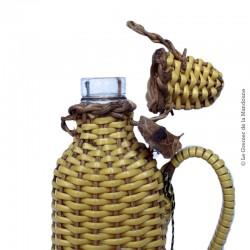 Ancienne bouteille tressé en scoubidous, années 70 vintage