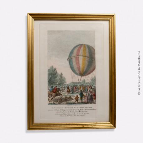 Estampe  La Conquête de l'Espace, les premiers ballons !  1783 - Histoire des ballons.
