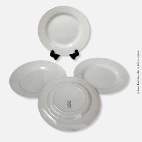 4 assiettes blanches Digoin Sarreguemines vers 1800
