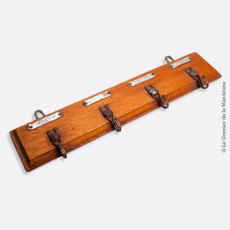 Ancien porte torchons en bois, 4 crochets métal