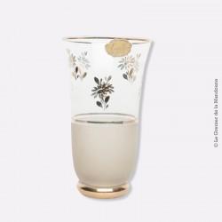 """Vase verre granité et motifs or. Ancienne étiquette """"Leville PARIS"""""""