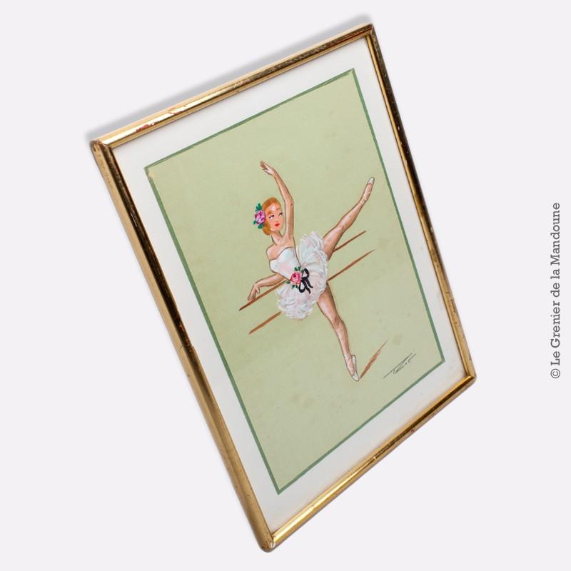 gouache sur soie motif danseuse la barre sign e sous. Black Bedroom Furniture Sets. Home Design Ideas
