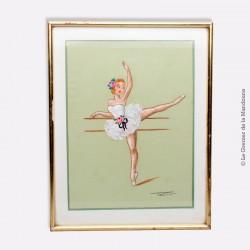 Gouache sur soie, motif Danseuse à la barre, signée, sous verre cadre doré