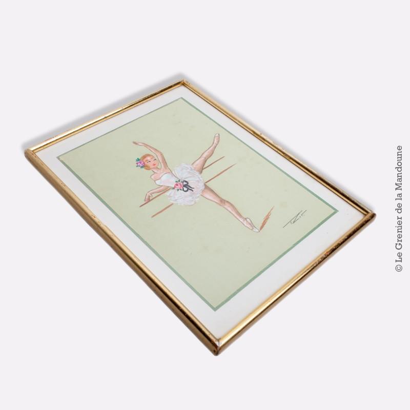 gouache sur soie motif danseuse la barre sign e sous verre cadre dor ebay. Black Bedroom Furniture Sets. Home Design Ideas