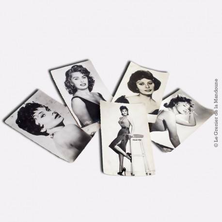 Lot de 5 cartes postales actrices italiennes années 1955 - 1965
