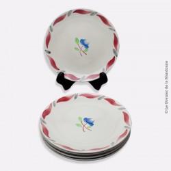 6 assiettes à dessert GIEN France modèle ELIANE, 1941 - 1960