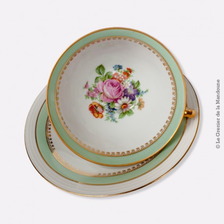 D jeuner limoges france motif bouquet de fleurs liser or for Linge de maison limoges