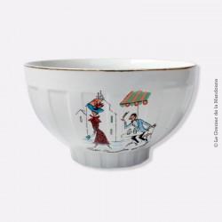 """Bol ancien à facettes """"Paris. Rencontre au café"""", porcelaine G.B. Old Bowl"""