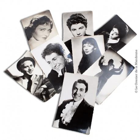 Lot de 8 Cartes Postales de chanteurs. Studio Harcourt, Sam Lévin, Staval, Roger Carlet, R. Kahan, Carlet Ainé