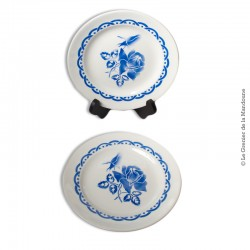 2 assiettes Digoin Sarreguemines modèle Michel (bleu)